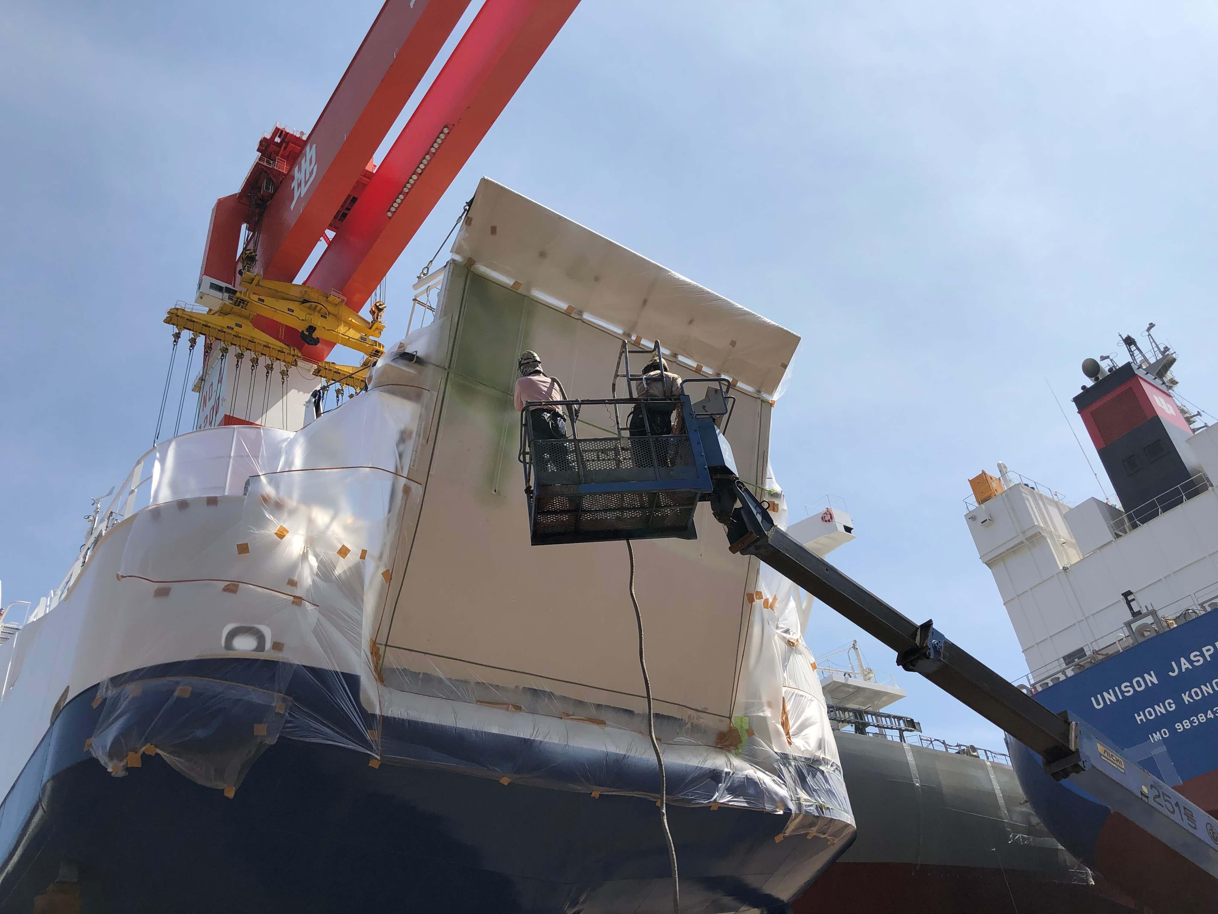 ポリウレア施工実績 造船工場 大型船ランプウェイ下部ライニング(耐衝撃・耐摩耗)NUKOTEポリウレアST
