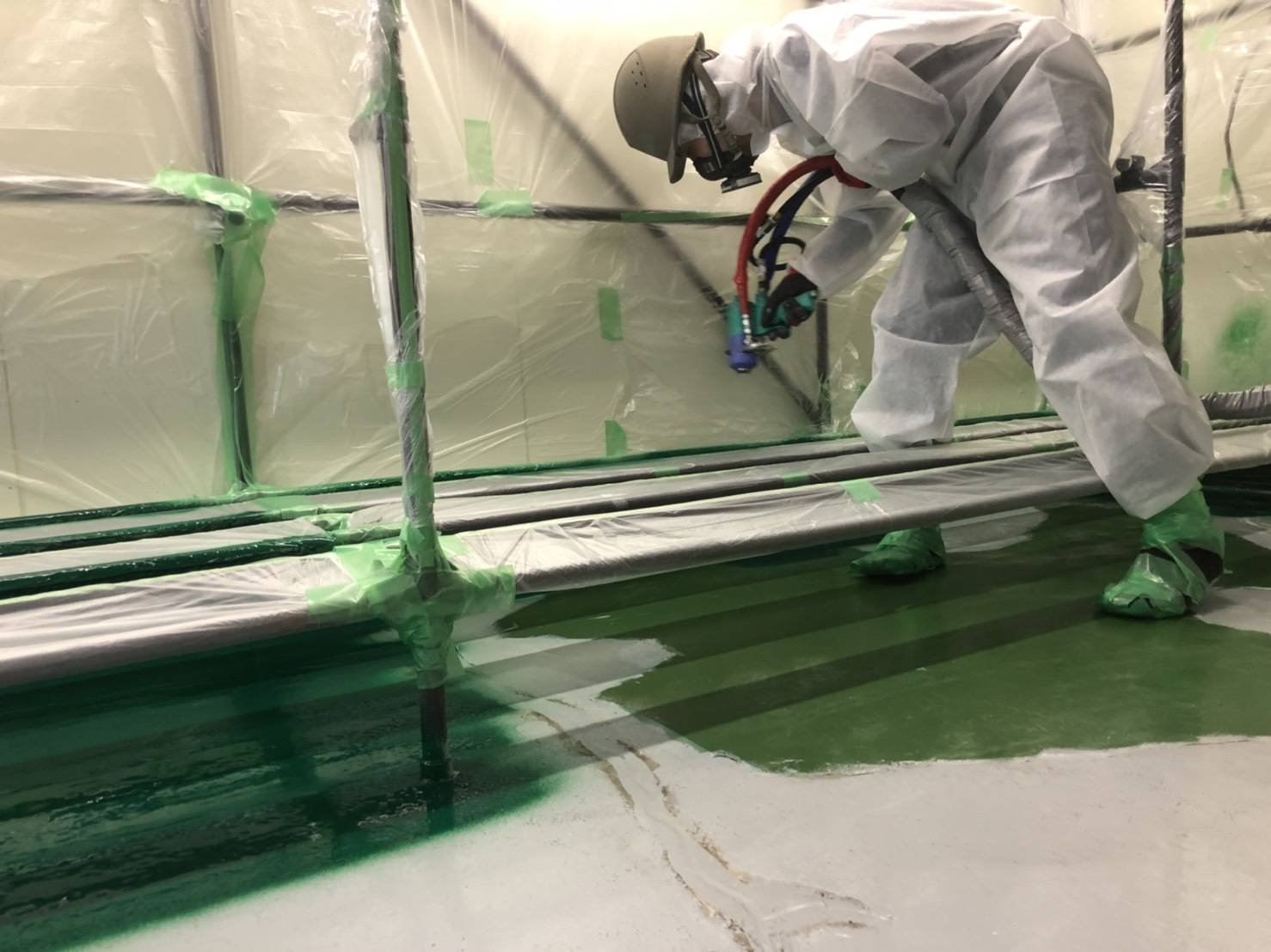 ポリウレア施工実績 食品工場 工場床面防水ライニング(防水)NUKOTEポリウレアST